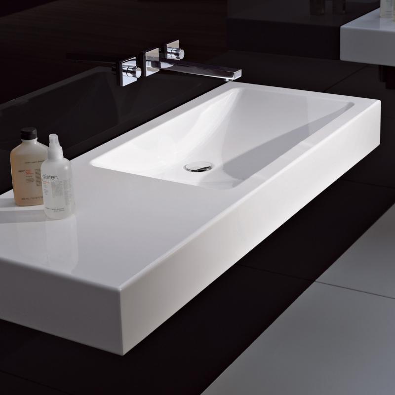 alape wt gr waschtisch wei mit pflegeleichter beschichtung ohne hahnloch ohne berlauf. Black Bedroom Furniture Sets. Home Design Ideas