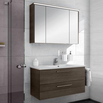 Artiqua 890 Block Waschtisch mit Waschtischunterschrank und LED-Spiegelschrank B:100 cm Front: mokka struktur/verspiegelt, Korpus: mokka struktur