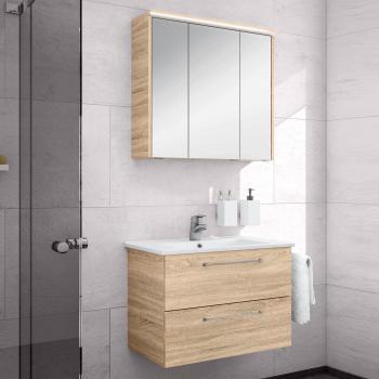 Artiqua 890 Block Waschtisch mit Waschtischunterschrank und LED-Spiegelschrank B:75 cm Front: castello eiche/verspiegelt, Korpus: castello eiche