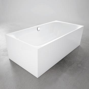 Bette Lux Silhouette freistehende Badewanne Wanne weiß, mit BetteGlasur Plus, Ablaufgarnitur chrom
