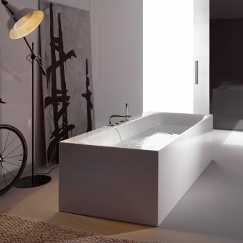 Bette Lux Silhouette Side Badewanne Wanne weiß, mit BetteGlasur Plus, Ablaufgarnitur weiß