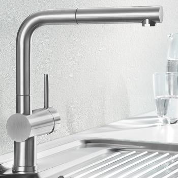Blanco Linus-S Einhebelmischer, Ausladung 219 mm, Auslauf ausziehbar edelstahl gebürstet