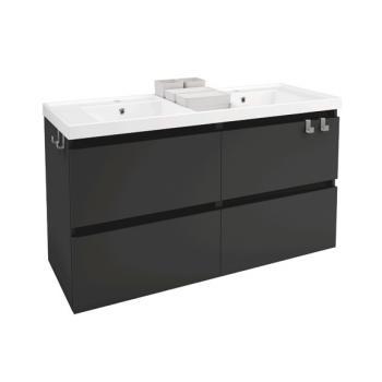 Cosmic b-box Doppelwaschtisch eckig mit Waschtischunterschrank mit 4 Auszügen Front anthrazit / Korpus anthrazit