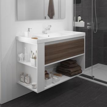 Cosmic b-smart Waschbecken m. Unterschrank, 1 Schublade und 1 Ablagefach Kunstharz/esche/weiß
