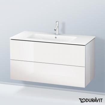 Duravit ME by Starck Waschtisch mit L-Cube Waschtischunterschrank weiß hochglanz, mit WonderGliss, mit 1 Hahnloch
