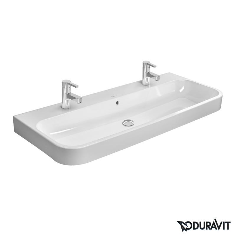 Doppelwaschtisch duravit  Duravit Happy D.2 Möbel-Doppelwaschtisch weiß, mit WonderGliss ...