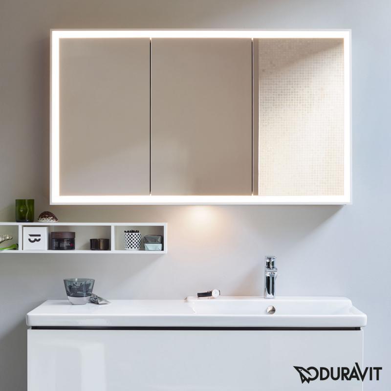 duravit l cube spiegelschrank mit led beleuchtung mit waschplatzbeleuchtung lc755300000. Black Bedroom Furniture Sets. Home Design Ideas