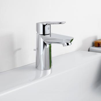 Grohe BauEdge Einhand-Waschtischbatterie, S-Size mit Ablaufgarnitur aus Kunststoff