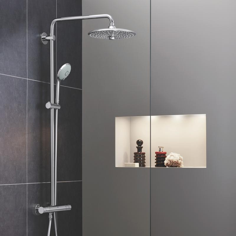 grohe euphoria system 260 duschsystem mit thermostatbatterie f r wandmontage 27296002. Black Bedroom Furniture Sets. Home Design Ideas