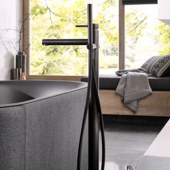 Herzbach Design iX PVD Wanneneinlaufsäule black steel