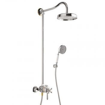 Hansgrohe Axor Carlton Showerpipe mit Thermostat und 1jet Kopfbrause chrom/gold optik