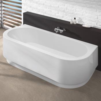 Hoesch HAPPY D Halbrunde Badewanne mit angeformter Schürze weiß