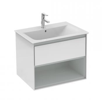 Ideal Standard Connect Air Waschtisch-Unterschrank mit 1 Auszug und 1 offenen Fach weiß glänzend/hellgrau matt