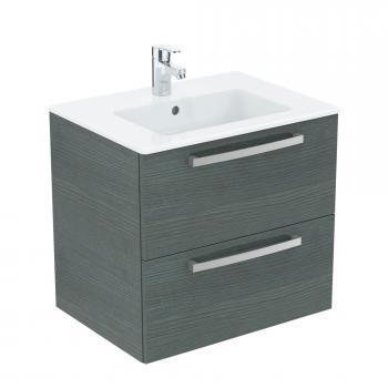 Ideal Standard Eurovit Plus Waschtisch mit Waschtischunterschrank mit 2 Auszügen Front eiche anthrazit dekor/Korpus eiche anthrazit dekor