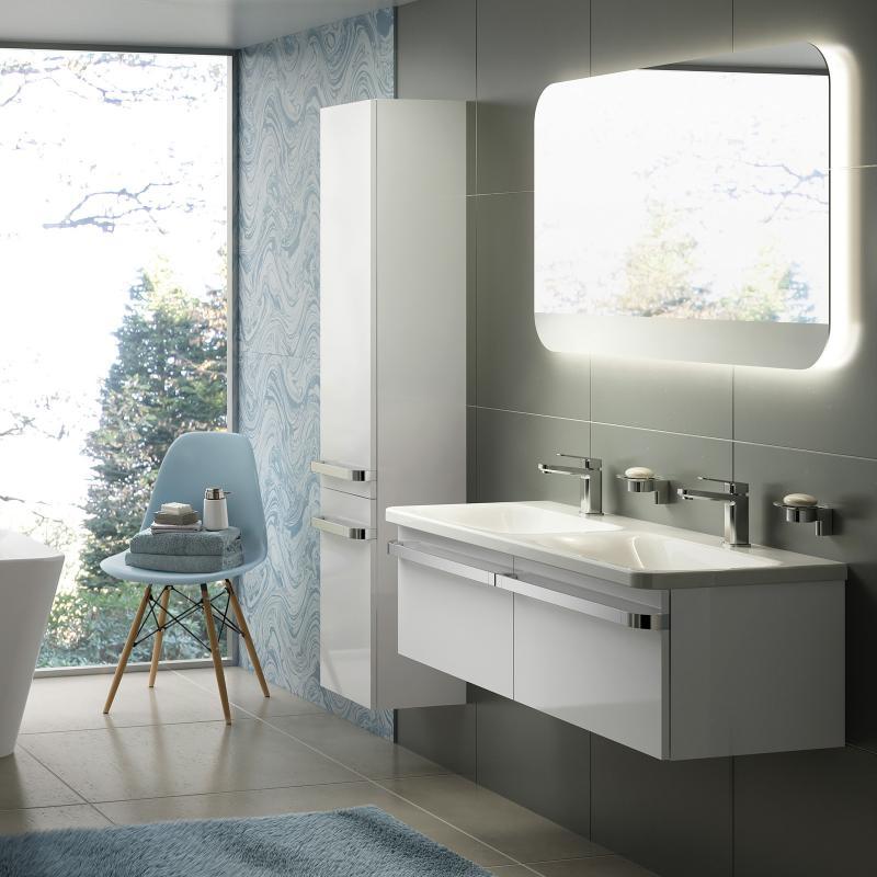 ideal standard tonic ii doppelwaschtisch unterschrank front wei hochglanz korpus wei. Black Bedroom Furniture Sets. Home Design Ideas
