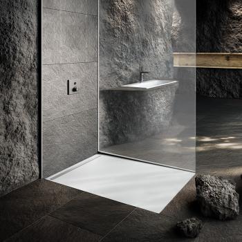 Kaldewei Nexsys Bodenebene Duschfläche Komplett-Set L: 140 B: 100 cm, mit ultraflachem Ablauf