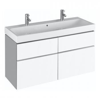 Keramag iCon Waschtischunterschrank mit mittigem Siphonausschnitt für Doppelwaschtisch Front und Korpus Alpin hochglanz
