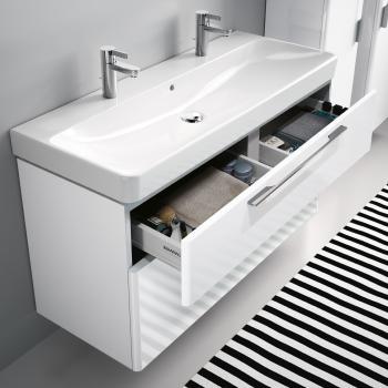 Keramag Smyle Waschtischunterschrank mit 2 Auszügen Front und Korpus weiß hochglanz