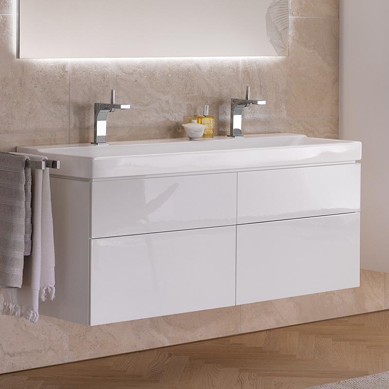 keramag xeno waschtisch wei mit keratect mit 2 hahnl chern 127025600. Black Bedroom Furniture Sets. Home Design Ideas