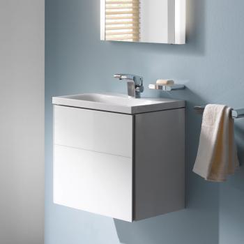 Keuco Royal Reflex Waschtischunterschrank mit 1 Tür Front Glas weiß / Korpus weiß glanz