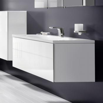 Keuco Royal Reflex Waschtischunterschrank mit 1 Auszug Front Glas weiß / Korpus weiß glanz
