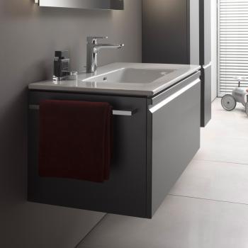 Laufen Pro S Waschtisch mit Waschtischunterschrank mit 1 Auszug Front graphit / Korpus graphit, mit Innenschublade, mit 1 Hahnloch