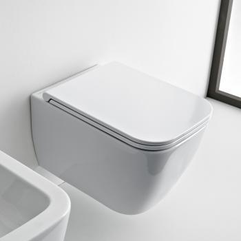 Scarabeo Teorema 2.0 Wand-Tiefspül-WC, ohne Spülrand weiß, mit BIO System