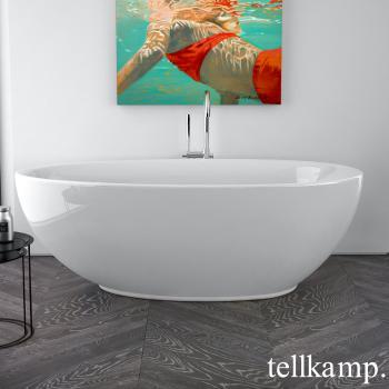 Tellkamp Neon freistehende Oval Badewanne weiß glanz, Schürze weiß glanz