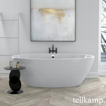 Tellkamp Space freistehende Oval Badewanne weiß glanz, Schürze weiß glanz
