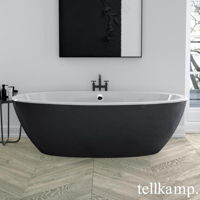 Tellkamp Space Freistehende Oval Badewanne Schwarzweiß 0100 088