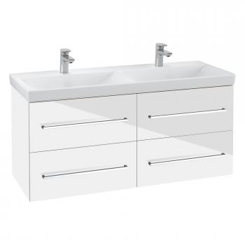 Villeroy & Boch Avento Doppel-Waschtischunterschrank mit 4 Auszügen Front crystal white / Korpus crystal white