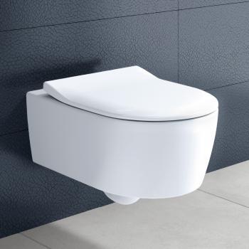 Villeroy & Boch Avento Wand-Tiefspül-WC, DirectFlush, mit WC-Sitz, Combi-Pack weiß mit CeramicPlus mit Quick Release und Absenkautomatik soft-close