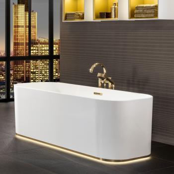 Villeroy & Boch Finion freistehende Badewanne mit Emotion-Funktion weiß, gold, mit Design-Ring