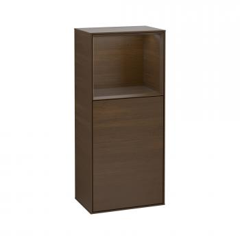 Villeroy & Boch Finion LED-Seitenschrank mit 1 Türe, Regalelement oben, Ladestation Front walnut / Korpus walnut