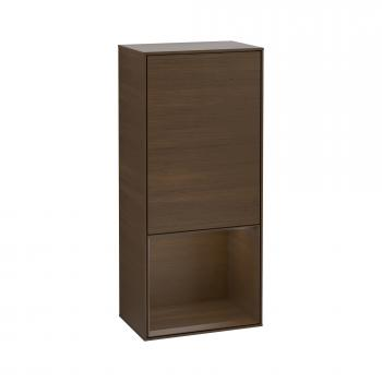 Villeroy & Boch Finion LED-Seitenschrank mit 1 Tür, Regalelement unten Front walnut / Korpus walnut