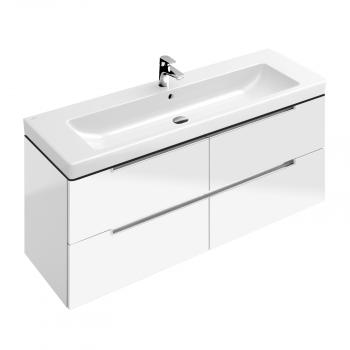 Villeroy & Boch Subway 2.0 Waschtischunterschrank XL mit 4 Auszügen Front glossy white / Korpus glossy white, Griff silber matt