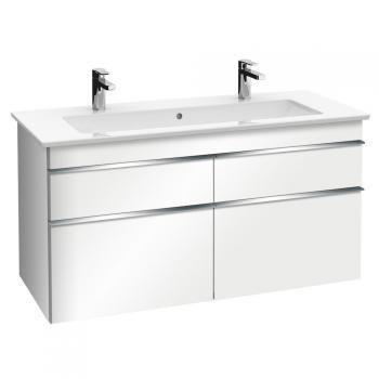Villeroy & Boch Venticello Waschtischunterschrank XXL für Doppelwaschtisch mit 4 Auszügen Front glossy white / Korpus glossy white, Griff chrom