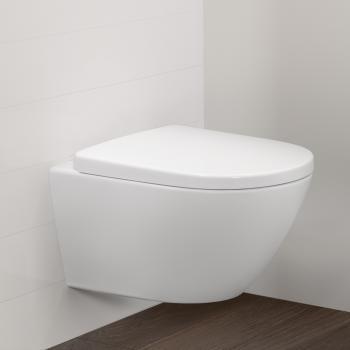 Villeroy & Boch Vivia Comfort Wand-Tiefspül-WC offener Spülrand, DirectFlush weiß mit CeramicPlus