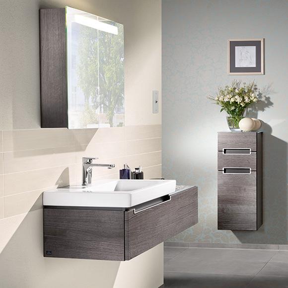 villeroy boch subway 2 0 waschtischunterschrank mit 1 auszug front eiche graphit korpus. Black Bedroom Furniture Sets. Home Design Ideas